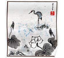Heron & Lotus Poster