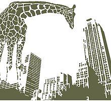 Huge giraffe animal in the big city  by SofiaYoushi
