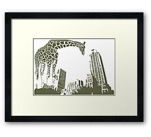 Huge giraffe animal in the big city  Framed Print