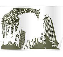 Huge giraffe animal in the big city  Poster