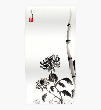 Chrysanthemum & Bamboo Poster