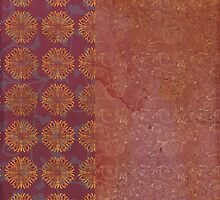 Caravans II:  Asian Print  Plum, gold, pink grey origami textile geometric design by LSWalthery