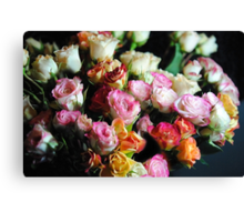 mini Tea Roses Bouquet Canvas Print