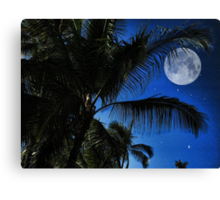 Moon Over Palm Trees Canvas Print