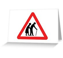 Caution Old People Crossing Sign Greeting Card