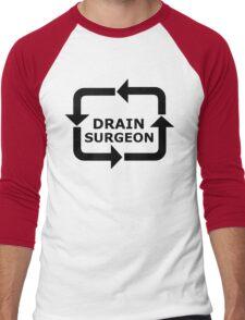 Drain Surgeon - Black Lettering, Funny Men's Baseball ¾ T-Shirt