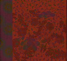 Caravans II:  Asian Print  Plum, gold, orange green origami textile floral design by LSWalthery