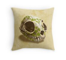 cat skull painted with wasabi flowers Throw Pillow