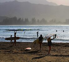 Evening Surfers at Hanalei Bay by Catherine Sherman