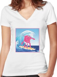 Wave Rider Girl Women's Fitted V-Neck T-Shirt
