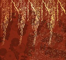 Caravans II:  Asian Print  willow tree branches, gold, orange watercolor by LSWalthery