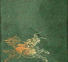 Caravans II:  Asian Print Happy Beast jade green and gold by LSWalthery