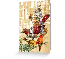 letterpress birds Greeting Card