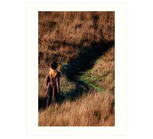 rachel taking a walk on the headlands  Art Print