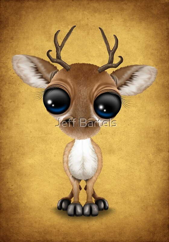 Quot Cute Curious Baby Deer Calf With Big Eyes On Yellow Quot Art