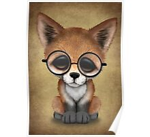 Cute Red Fox Cub Wearing Glasses  Poster