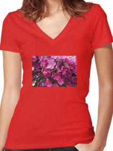 Dark Pink Cherry Blossoms Women's Fitted V-Neck T-Shirt
