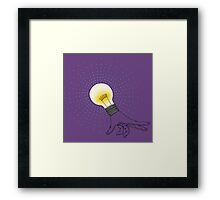 Runaway Idea lightbulb hand Framed Print
