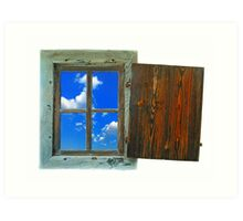 window of country house on a white background with a  sky view Art Print