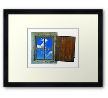 window of country house on a white background with a  sky view Framed Print