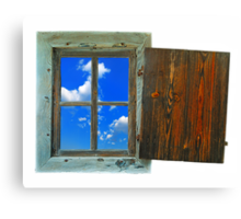 window of country house on a white background with a  sky view Canvas Print