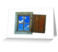 window of country house on a white background with a  sky view Greeting Card