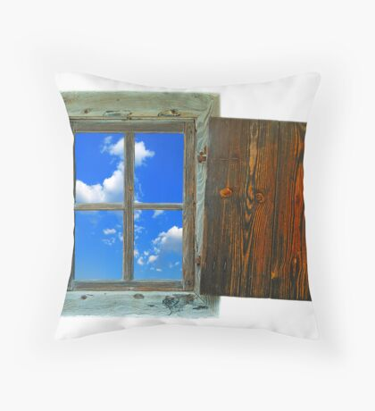 window of country house on a white background with a  sky view Throw Pillow