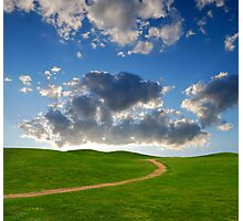 pedestrian path between green hills on a background picturesque sky Photographic Print