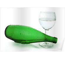 bottle from green glass and wineglass  on white Poster