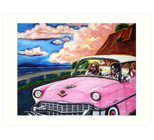 'Elvis & Jesus Go For A Drive' Art Print