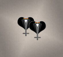Lesbian Tuxedo Heart Bow Tie by LiveLoudGraphic