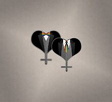 Lesbian Tuxedo Heart Tie and Bow Tie by LiveLoudGraphic