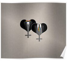 Lesbian Tuxedo Heart Tie and Bow Tie Poster
