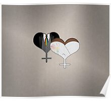 Lesbian Dress and Tux Hearts Tie Poster