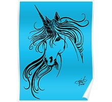 Tribal Unicorn Blue Poster