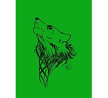 Tribal Wolf Green Photographic Print