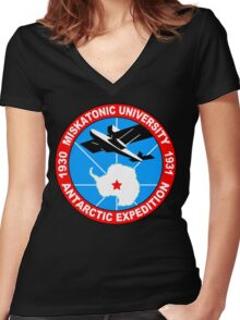 Miskatonic university antarctic expedition Funny Geek Nerd Women's Fitted V-Neck T-Shirt