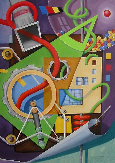 Abstract with Green Triangle and Turning Page by nancy salamouny
