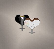 Lesbian Dress and Tux Hearts Bow Tie by LiveLoudGraphic