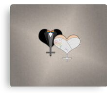 Lesbian Dress and Tux Hearts Bow Tie Canvas Print