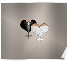 Lesbian Dress and Tux Hearts Bow Tie Poster
