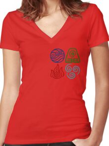 Avatar Four Elements Square Women's Fitted V-Neck T-Shirt