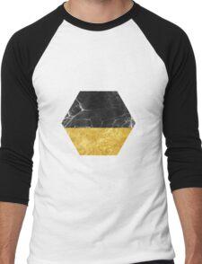 Black Marble and Gold Men's Baseball ¾ T-Shirt