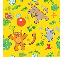 Summer seamless pattern with small animals, play ball. Photographic Print