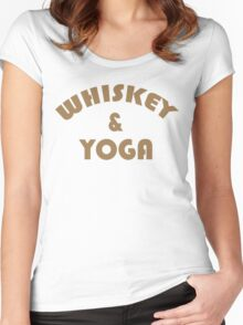 Whiskey & Yoga Funny Geek Nerd Women's Fitted Scoop T-Shirt