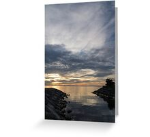 Waterscape In Gray And Yellow Greeting Card