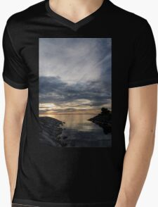 Waterscape In Gray And Yellow Mens V-Neck T-Shirt