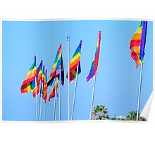 Gay rainbow flag with a blue sky background  Poster