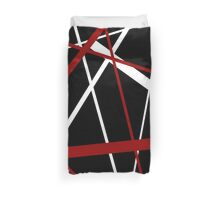 Red and White Stripes on A Black Background Duvet Cover