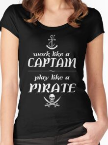 Work like a captain, play like a pirate Funny Geek Nerd Women's Fitted Scoop T-Shirt